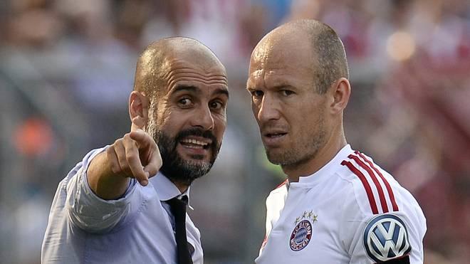 Pep Guardiola (l., mit Arjen Robben) war von 2013 bis 2016 Bayern-Trainer