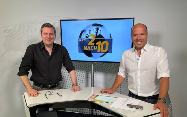 SPORT-Chefredakteur Pit Gottschalk (l.) und Moderator Hartwig Thöne sprechen über die anstehenden DFL-Entscheidungen