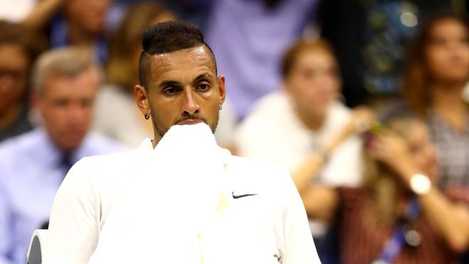 NEW YORK, NEW YORK - AUGUST 31: Nick Kyrgios of Australia reacts during his Men's Singles third round match against Andrey Rublev of Russia on day six of the 2019 US Open at the USTA Billie Jean King National Tennis Center on August 31, 2019 in Queens borough of New York City. (Photo by Clive Brunskill/Getty Images)