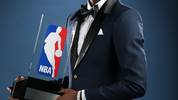 Andrew Wiggins presented with 2014- 2015 Kia NBA Rookie of the Year Award