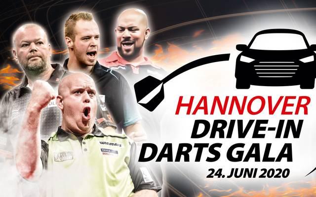 Bei der Hannover Drive-In Darts Gala tritt unter anderem MvG (u.) an das Oche