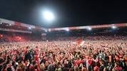 BERLIN, GERMANY - MAY 27: Fans of Union Berlin celebrate after the Bundesliga playoff second leg match between 1. FC Union Berlin and VfB Stuttgart at Stadion an der alten Försterei on May 27, 2019 in Berlin, Germany. (Photo by Stuart Franklin/Bongarts/Getty Images)