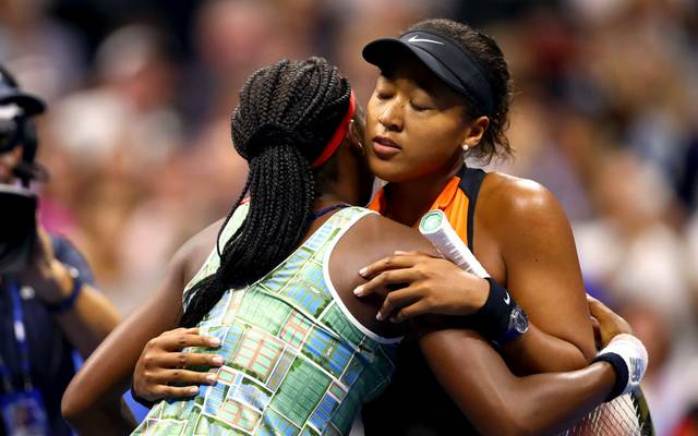 NEW YORK, NEW YORK - AUGUST 31: Cori Gauff of the United States and Naomi Osaka of Japan hug after their Women's Singles third round match on day six of the 2019 US Open at the USTA Billie Jean King National Tennis Center on August 31, 2019 in Queens borough of New York City. (Photo by Clive Brunskill/Getty Images)