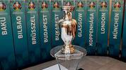 A model of the UEFA European football championship trophy is pictured surrounded with the names of host cities after an event to launch the Budapest's logo for the 2020 UEFA European Championship football tournament in Budapest on November 16, 2016.The EURO 2020 UEFA European Championship will see matches hosted in 13 cities across Europe, with the semi-finals and final staged at Wembley Stadium in London in July 2020. / AFP / ATTILA KISBENEDEK        (Photo credit should read ATTILA KISBENEDEK/AFP/Getty Images)