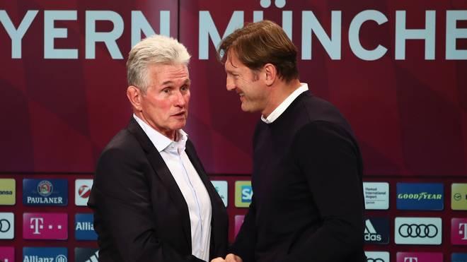 Ralph Hasenhüttl (r.) könnte bei den Bayern Jupp Heynckes beerben
