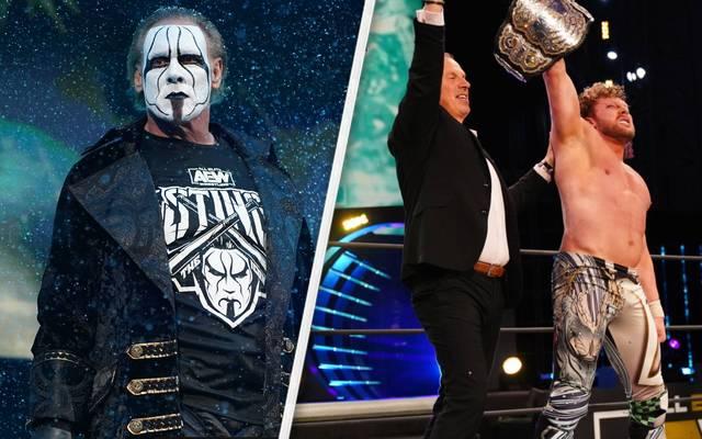 Bei AEW Dynamite debütierte Sting (l.), Don Callis (M.) verhalf Kenny Omega zum Titel