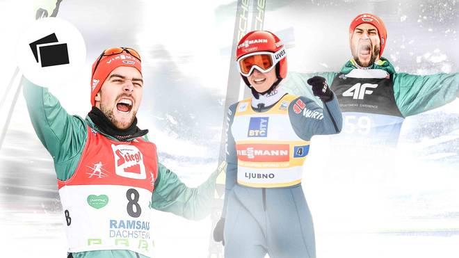 Johannes Rydzek (l.), Katharina Althaus (M.) und Markus Eisenbichler (r.) haben gute Medaillenchancen