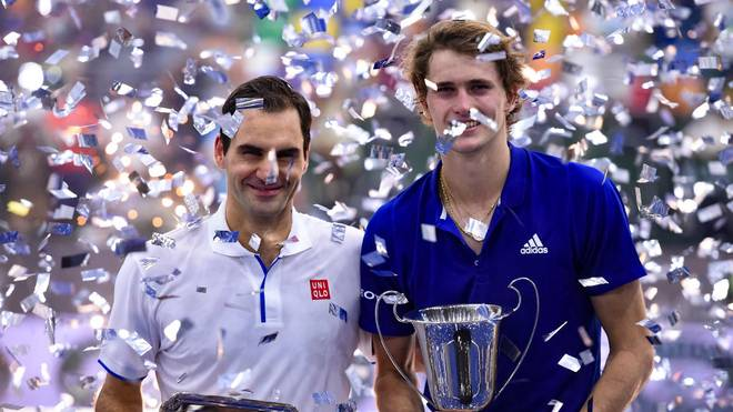 BUENOS AIRES, ARGENTINA - NOVEMBER 20: (L-R) Roger Federer of Switzerland and Alexander Zverev of Germany  pose with trophies after an exhibition game between Alexander Zverev and Roger Federer at Arena Parque Roca on November 20, 2019 in Buenos Aires, Argentina. (Photo by Marcelo Endelli/Getty Images)