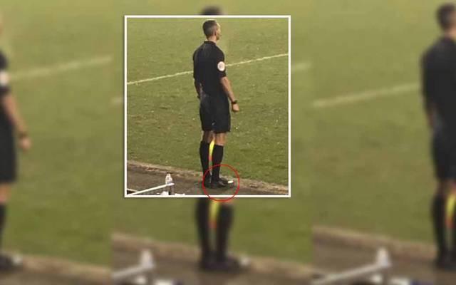 Linienrichter Hristo Karaivanov stand mit seinen feinsten Schuhen an der Seitenlinie