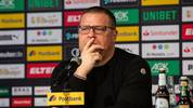 MOENCHENGLADBACH, GERMANY - MAY 29: Max Eberl during Marco Roses presentation as new head coach of Borussia Moenchengladbach at Postbank-Presseclub on May 29, 2019 in Moenchengladbach, Germany. (Photo by Joshua Sammer/Bongarts/Getty Images)