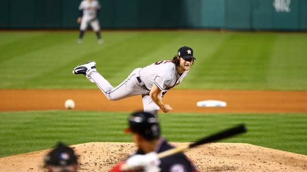 WASHINGTON, DC - OCTOBER 27:  Gerrit Cole #45 of the Houston Astros pitches during Game 5 of the 2019 World Series between the Houston Astros and the Washington Nationals at Nationals Park on Sunday, October 27, 2019 in Washington, District of Columbia. (Photo by Adam Glanzman/MLB Photos via Getty Images)