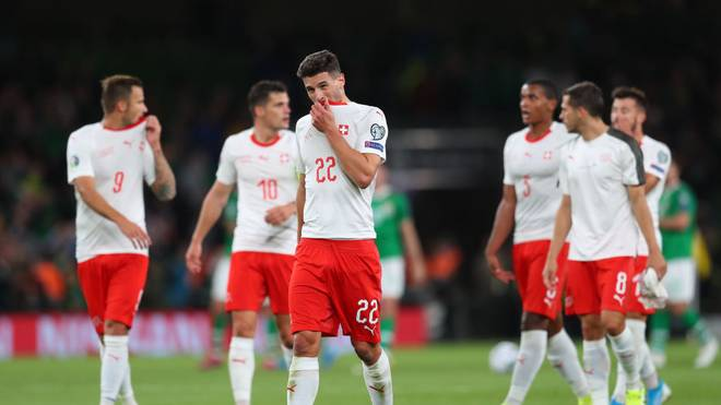 DUBLIN, IRELAND - SEPTEMBER 05: Fabian Schar of Switzerland looks o after the final whistle during the UEFA Euro 2020 qualifier between Republic of Ireland and Switzerland at Aviva Stadium on September 05, 2019 in Dublin, Ireland. (Photo by Catherine Ivill/Getty Images)