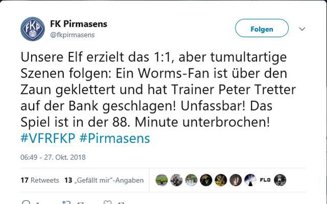 Eklat in der Regionalliga Südwest - Fan schlägt Trainer von FK Pirmasens Tweet des FK Pirmasens zu dem Vorfall