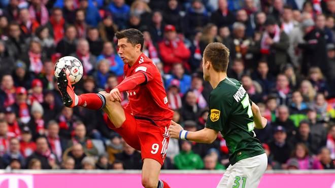 Robert Lewandowski schnürte beim Sieg des FC Bayern gegen den VfL Wolfsburg einen Doppelpack