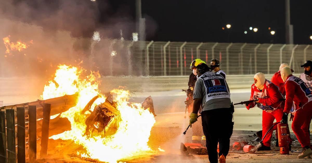 Formel 1: Romain Grosjean im Haas überlebt Feuer-Unfall in Bahrain