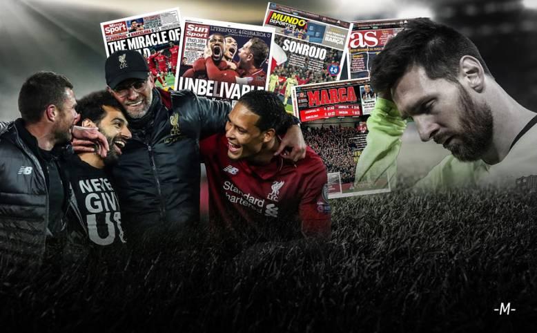 Dem FC Liverpool gelingt ein sagenhaftes Comeback im Champions-League-Halbfinale gegen den FC Barcelona. Das Medienecho ist nach dem 4:0-Triumph der Reds überwältigend. SPORT1 hat die internationalen Pressestimmen