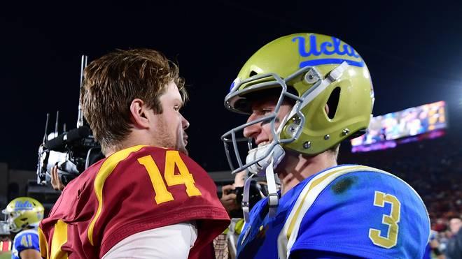 Sam Darnold (l.) von den USC Trojans und UCLA-Quarterback Josh Rosen nehmen am NFL-Draft teil