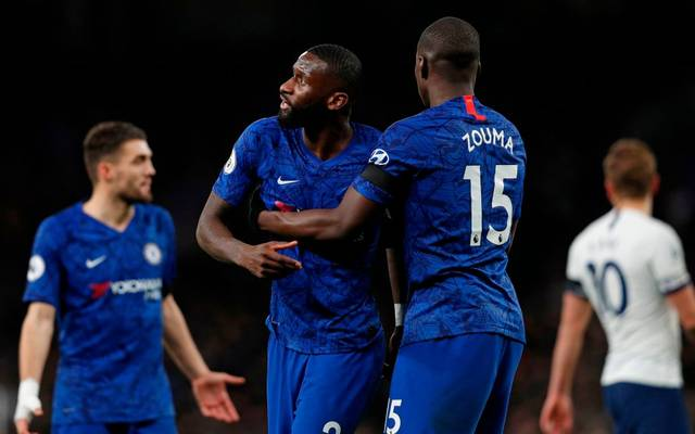 Chelsea's French defender Kurt Zouma (R) and Chelsea's German defender Antonio Rudiger (2nd L) reacts during the English Premier League football match between Tottenham Hotspur and Chelsea at Tottenham Hotspur Stadium in London, on December 22, 2019. (Photo by Adrian DENNIS / AFP) / RESTRICTED TO EDITORIAL USE. No use with unauthorized audio, video, data, fixture lists, club/league logos or 'live' services. Online in-match use limited to 120 images. An additional 40 images may be used in extra time. No video emulation. Social media in-match use limited to 120 images. An additional 40 images may be used in extra time. No use in betting publications, games or single club/league/player publications. /  (Photo by ADRIAN DENNIS/AFP via Getty Images)