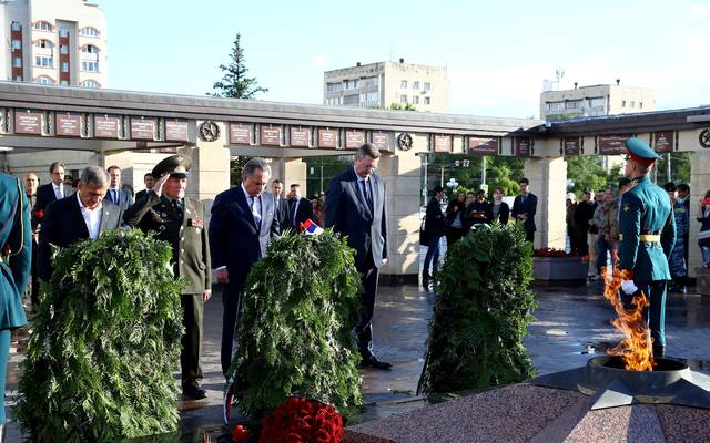 DFB Delegation Visits Park Pobedy To Lay A Wreath