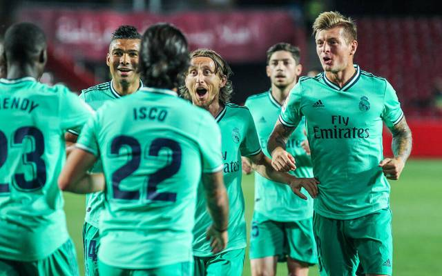 July 13, 2020, Granada, GRANADA, SPAIN: Ferland Mendy of Real Madrid, Luka Modric of Real Madrid and Toni Kroos of Real Madrid celebrate a goal during the spanish league, La Liga, football match played between Granada CF and Real Madrid CF at Nuevo Los Carmenes Stadium on July 13, 2020 in Granada, Spain. Granada SPAIN - ZUMAa181 20200713_zaa_a181_195 Copyright: xIrinaxR.xHx