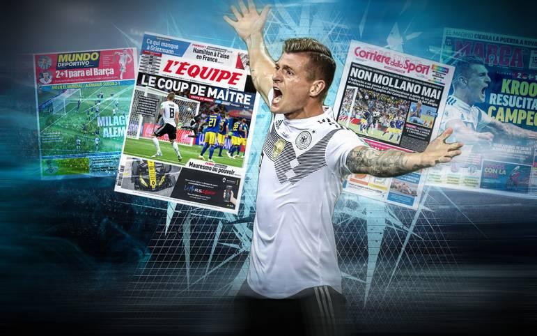 Der Sieg gegen Schweden lässt die ausländischen Medien fassungslos zurück. Viele wähnen das DFB-Team unsterblich, Toni Kroos wird als Genie gefeiert. SPORT1 zeigt internationale Pressestimmen