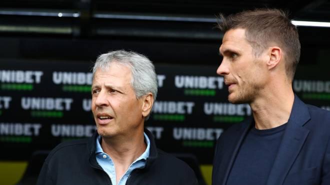 Lucien Favre (li.) steht laut Sebastian Kehl beim BVB nicht zur Diskussion