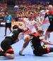 Croatia's Marino Maric (C) vies with the ball during the Men's European Handball Championship, main round match between Croatia and Germany in Vienna, Austria on January 18, 2020. (Photo by JOE KLAMAR / AFP) (Photo by JOE KLAMAR/AFP via Getty Images)