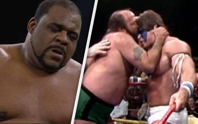 Keith Lees Trainer Tim Brooks (M.) kämpfte unter anderem gegen den jungen Ultimate Warrior