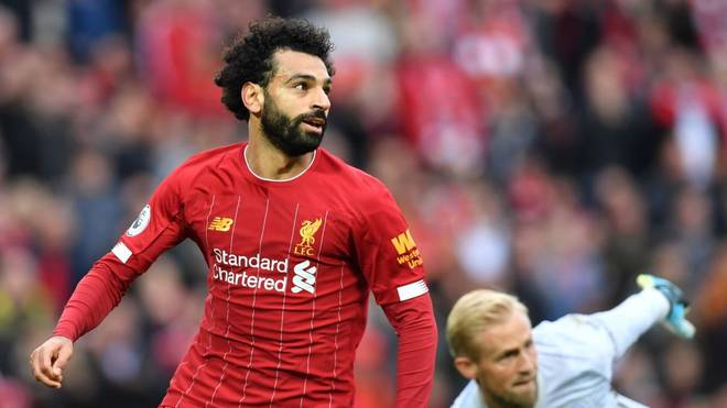 Liverpool's Egyptian midfielder Mohamed Salah in action during the English Premier League football match between Liverpool and Leicester City at Anfield in Liverpool, north west England on October 5, 2019. (Photo by Paul ELLIS / AFP) / RESTRICTED TO EDITORIAL USE. No use with unauthorized audio, video, data, fixture lists, club/league logos or 'live' services. Online in-match use limited to 120 images. An additional 40 images may be used in extra time. No video emulation. Social media in-match use limited to 120 images. An additional 40 images may be used in extra time. No use in betting publications, games or single club/league/player publications. /  (Photo by PAUL ELLIS/AFP via Getty Images)
