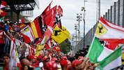 MONZA, ITALY - SEPTEMBER 08: Ferrari fans wave flags to show their support before the F1 Grand Prix of Italy at Autodromo di Monza on September 08, 2019 in Monza, Italy. (Photo by Charles Coates/Getty Images)