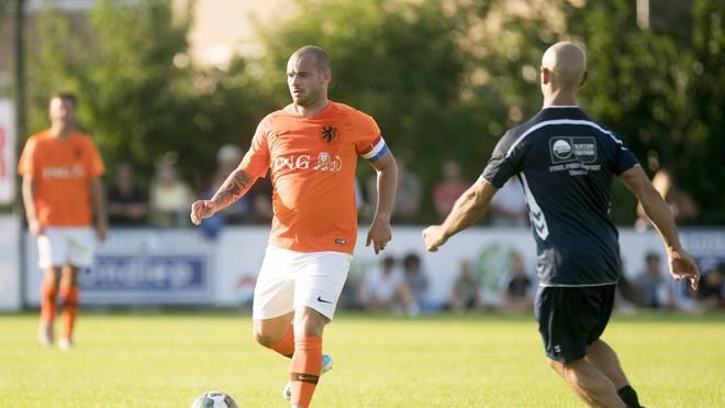 Wesley Sneijder lief bei einem Spiel in Utrecht für eine Oranje-Legendenauswahl auf