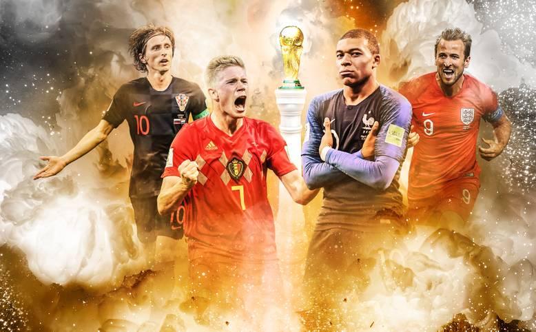 Gesucht wird der Nachfolger von Deutschland als Weltmeister. Nur noch vier Teams sind im Rennen: Luka Modric' Kroaten, Kevin De Bruyne mit Belgien, die Franzosen um Kylian Mbappe und Harry Kanes Engländer (v.l.)