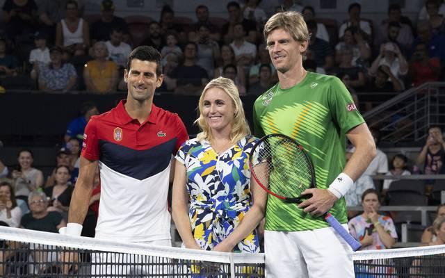 Novak Djokovic (l.) und Kevin Anderson beim ATP Cup Anfang des Jahres 2020 in Brisbane