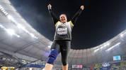 DOHA, QATAR - OCTOBER 03:  Christina Schwanitz of Germany, bronze, celebrates during the Women's Shot Put final during day seven of 17th IAAF World Athletics Championships Doha 2019 at Khalifa International Stadium on October 03, 2019 in Doha, Qatar. (Photo by Matthias Hangst/Getty Images)