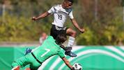 WALDSHUT-TIENGEN, GERMANY - SEPTEMBER 11:  Karim Adeyemi of Germany challenges Manuel Gasparini of Italy during the Four Nations Tournament game between Germany U17 and Italy U17 at Langensteinstadion on September 11, 2018 in Waldshut-Tiengen, Germany. (Photo by Christian Kaspar-Bartke/Getty Images)