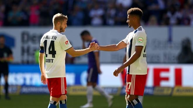 Wollen gegen Fürth endlich wieder drei Punkte einfahren: HSV-Kapitän Aaron Hunt (l.) und Josha Vagnoman