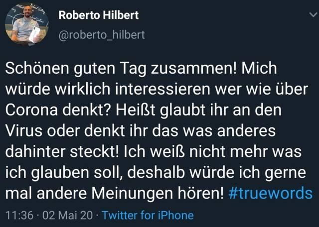 Roberto Hilbert stellt seinen Followern eine Frage zu Corona