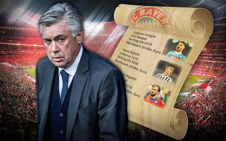 Die Meldung, dass Carlo Ancelotti im Sommer das Traineramt bei den Bayern übernimmt, ist keine Woche alt – schon kursieren die ersten Gerüchte um potenzielle Neuzugänge. In einem Radio-Interview verriet der Italiener vor einigen Wochen seine Spieler-Wunschliste. SPORT1 zeigt, wer darauf steht