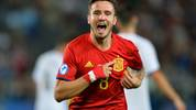 KRAKOW, POLAND - JUNE 27:  Saul Niguez of Spain celebrates scoring his sides first goal during the UEFA European Under-21 Championship Semi Final match between Spain and Italy at Krakow Stadium on June 27, 2017 in Krakow, Poland.  (Photo by Adam Nurkiewicz/Getty Images)