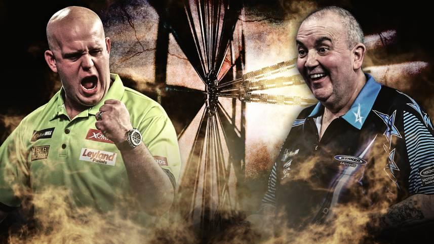 """Rekordweltmeister Phil Taylor und WM-Titelverteidiger Michael """"Mighty Mike"""" van Gerwen kennt jeder Darts-Fan"""