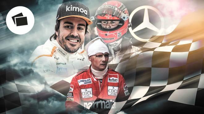 Fernando Alonso (l.) ist nicht der erste Formel-1-Weltmeister, der sein Comeback gibt