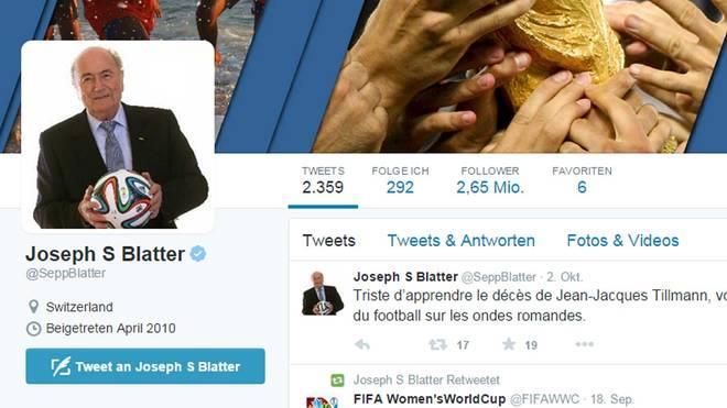 Sepp Blatter nennt sich auf seinem Twitteraccount nicht mehr FIFA-Präsident
