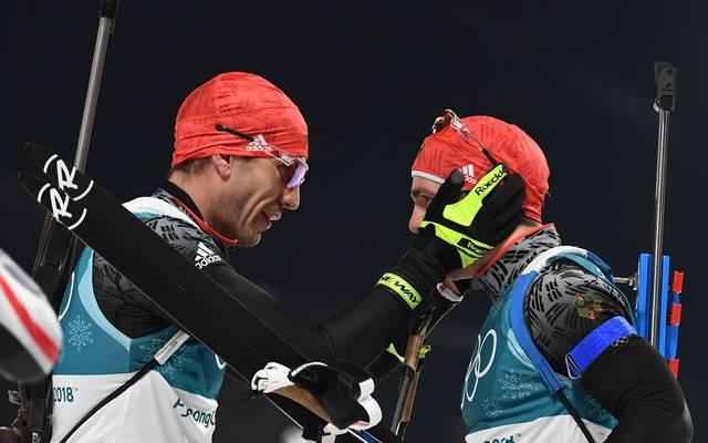 Arnd Peiffer und Simon Schempp sind zwei der vier deutschen Starter in der Biathlon-Staffel