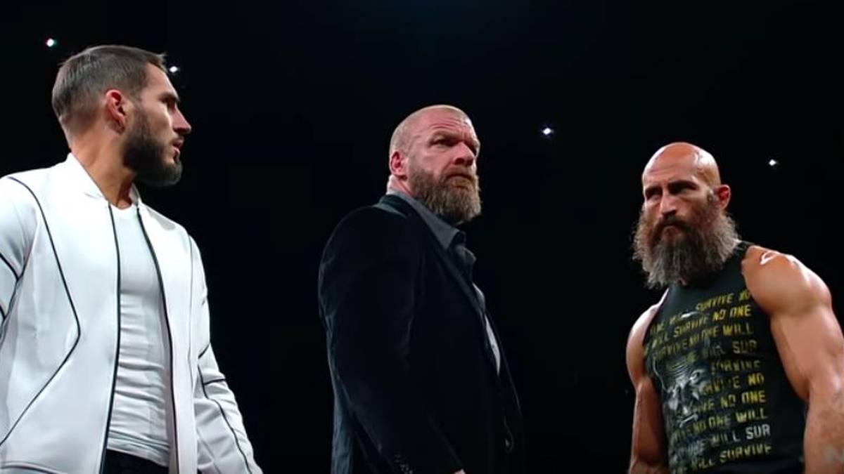 Johnny Gargano (l.) und Tommaso Ciampa (r., mit Triple H) lieferten sich bei WWE eine epische Fehde)