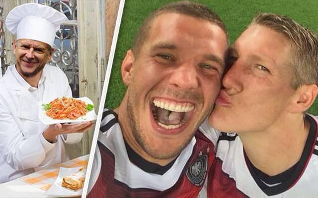 Lukas Podolski (M.) ist für zahlreiche legendäre Tweets verantwortlich