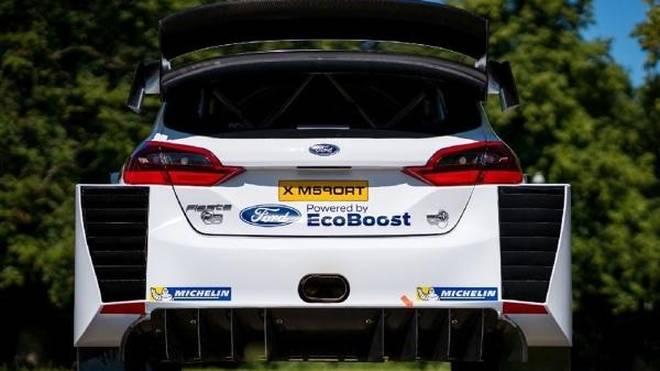 So sieht das neue Heck des Ford Fiesta WRC aus