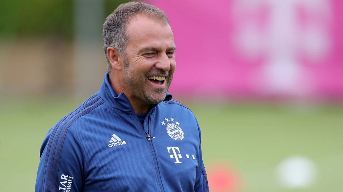 MUNICH, GERMANY - JULY 08: Hansi Flick, assistant coach of FC Bayern Muenchen, smiles during a training session on July 08, 2019 in Munich, Germany. The team of FC Bayern Muenchen is back in training, preparing for the next Bundesliga season that will kick of on August 16, 2019. (Photo by Alexander Hassenstein/Bongarts/Getty Images)