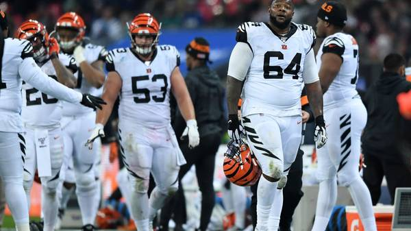 LONDON, ENGLAND - OCTOBER 27: John Jerry of Cincinnati Bengals walks off after a switch during the NFL game between Cincinnati Bengals and Los Angeles Rams at Wembley Stadium on October 27, 2019 in London, England. (Photo by Alex Davidson/Getty Images)
