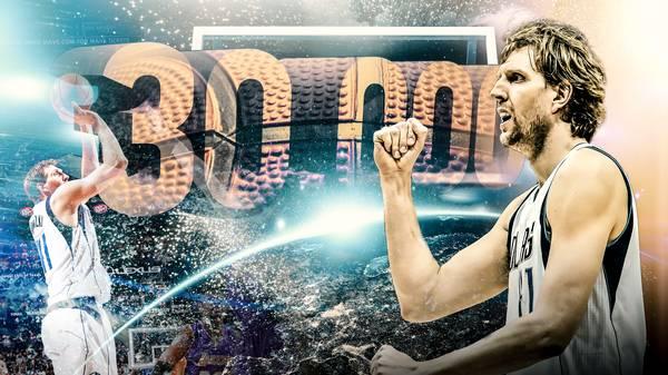 Dirk Nowitzki von den Dallas Mavericks hat als sechster Spieler in der Geschichte der NBA 30.000 Punkte erzielt