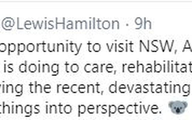 Tweet Hamilton zur Buschfeuer spende